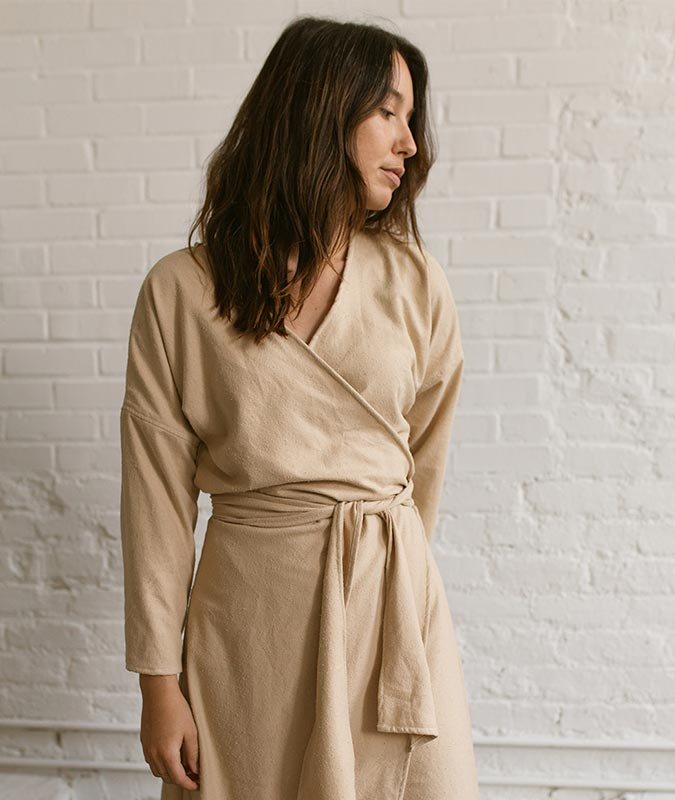 Woman wearing the clara wrap dress